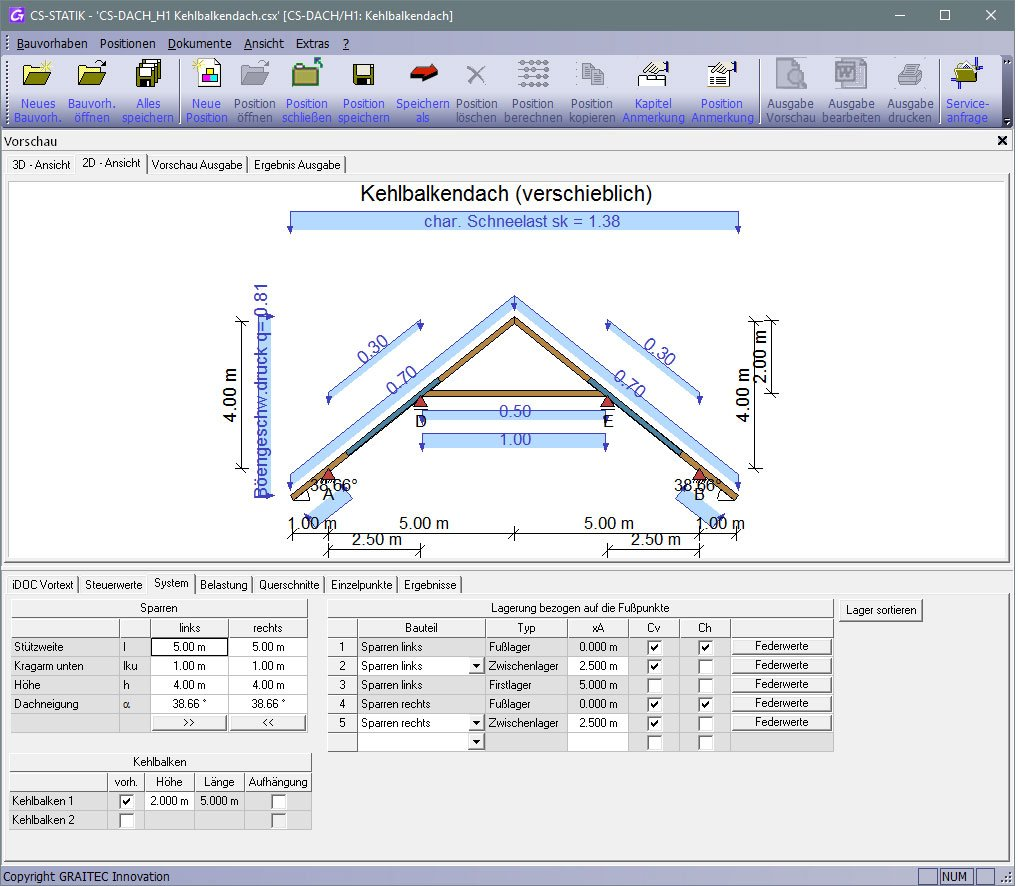 GRAITEC CS-Statik | Module Holzbau | Dachtragwerke