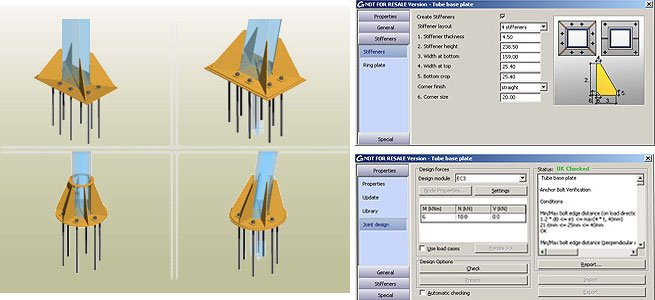 GRAITEC Autodesk Advance Steel | Eurocodes 3 | Grundplatte Rohr