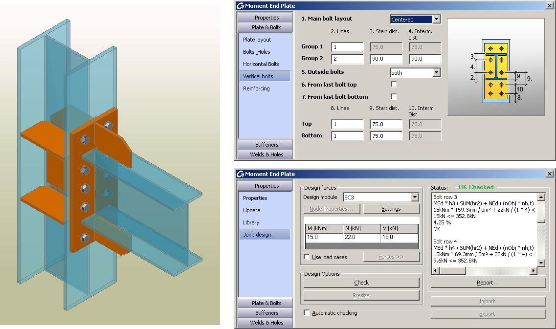 GRAITEC Autodesk Advance Steel | Eurocodes 3 | Biegesteife Stirnplatte