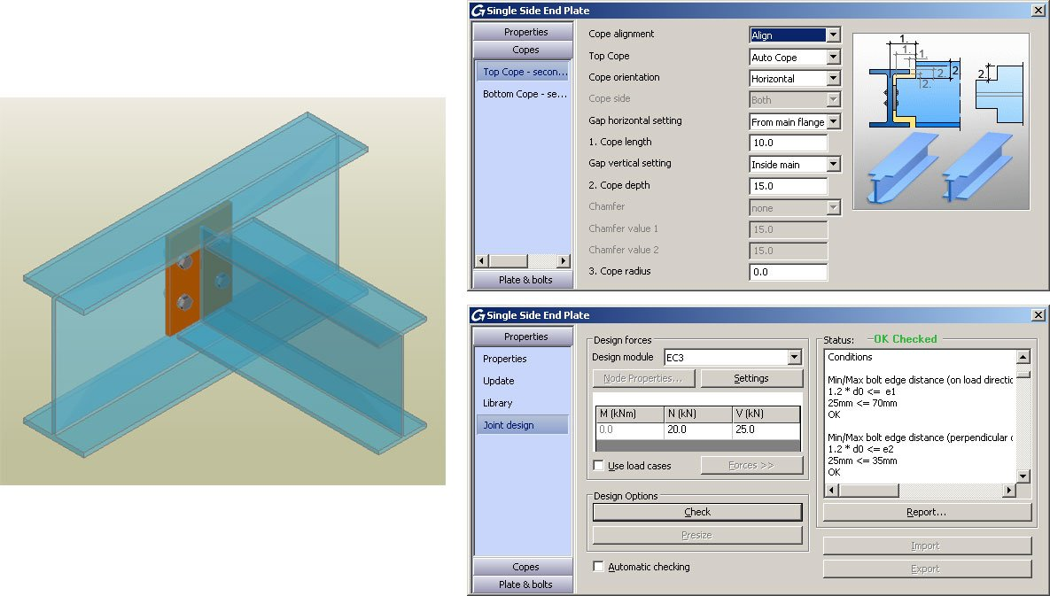 GRAITEC Autodesk Advance Steel | Eurocodes 3 | Einseitige Endplatte