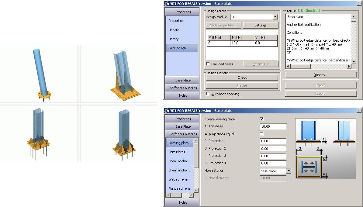 GRAITEC Autodesk Advance Steel | Eurocodes 3 | Fußplatte