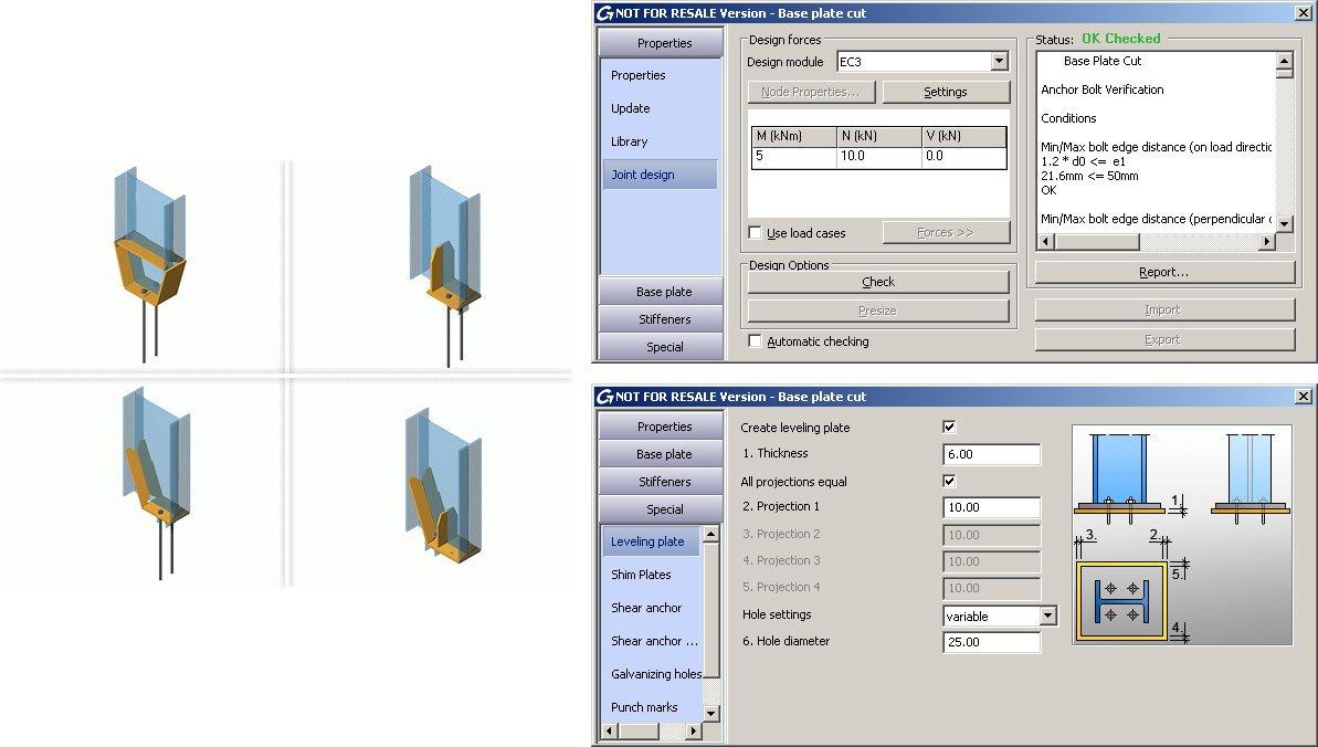GRAITEC Autodesk Advance Steel | Eurocodes 3 | Fußplatte Schnitt