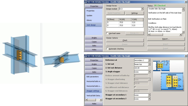 GRAITEC Autodesk Advance Steel | Eurocodes 3 | Beidseitiger Anschluss mit Doppelwinkel