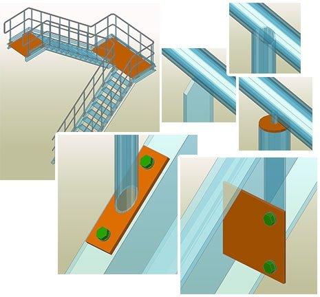 GRAITEC Autodesk Advance Steel | Treppen und Geländer | Fertiggeländer