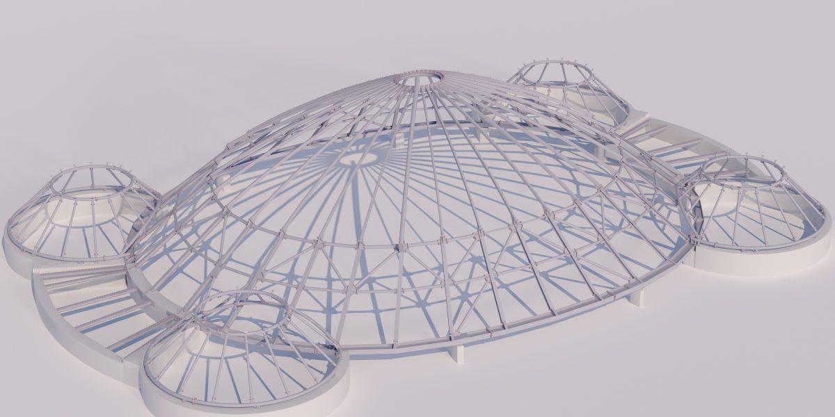 Stahl-Glas-Dach für ein Elefantenhaus