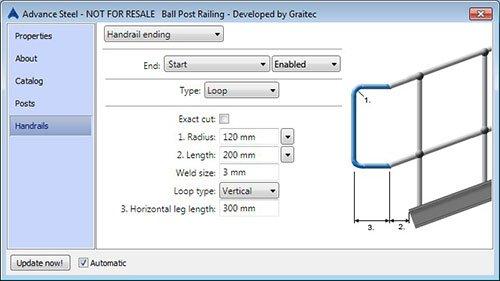 GRAITEC BIM Designer Geländer (inklusive Kugel-Pfosten Geländer) für Advance Steel